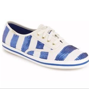 New W/ Out Box Kate Spade Blue Sequined Keds